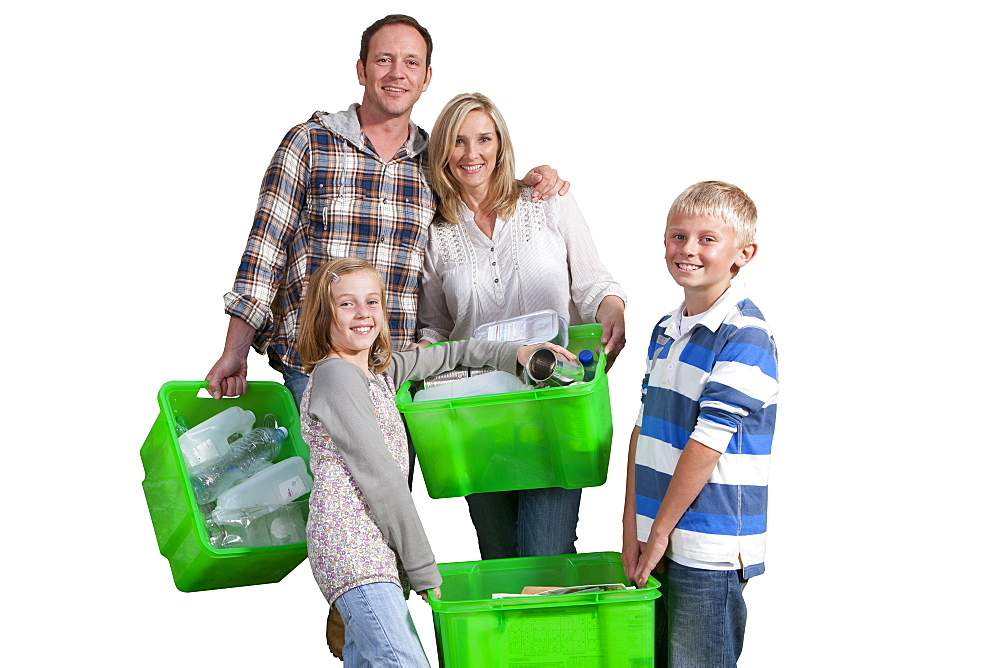 Cut Out Of Family Recycling Domestic Waste