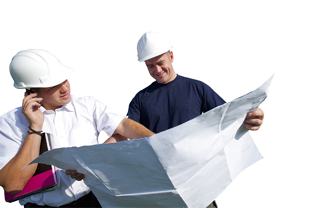 Cut Out Of Two Builders Discussing Plans