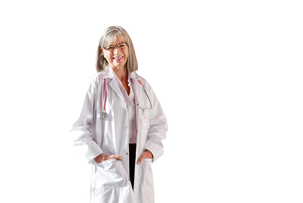 Cut Out Of Senior Female Doctor Wearing White Coat