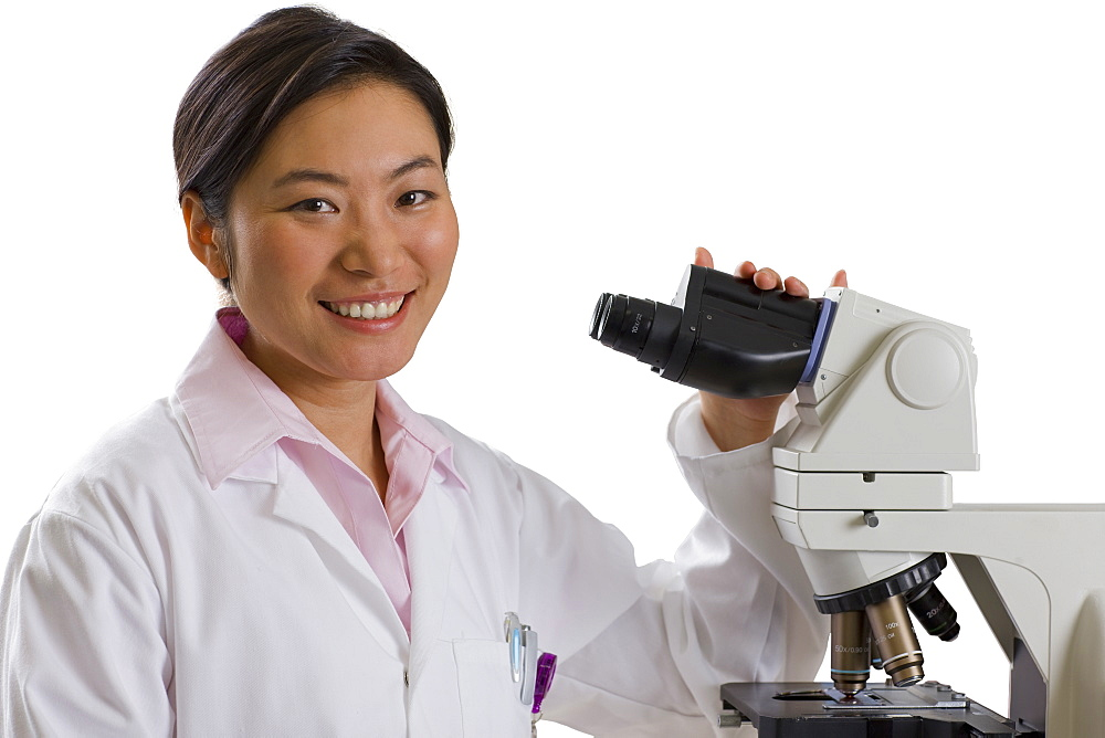 Cut Out Of Female Scientist With Microscope - 786-8277