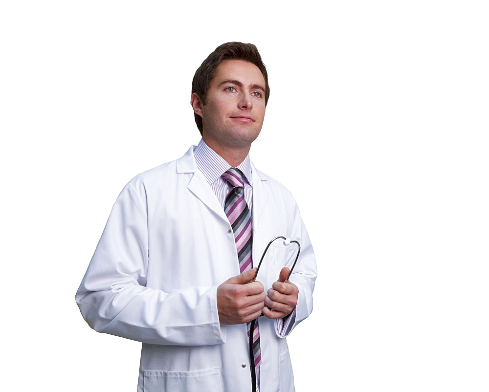 Cut Out Of Male Doctor Wearing White Coat