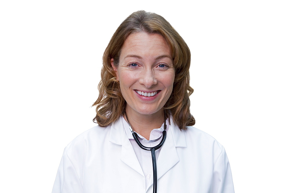 Cut Out Of Female Doctor Wearing White Coat