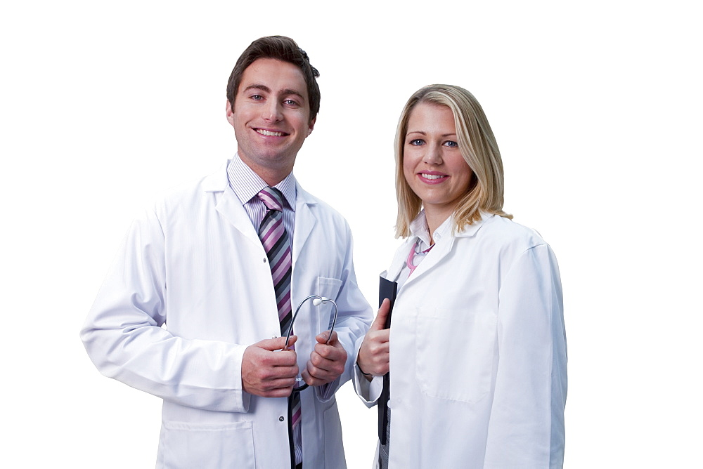 Cut Out Of Male And Female Doctors Wearing White Coats