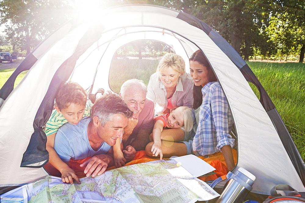 Multi-Generation Family Enjoying Camping Trip