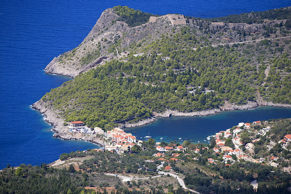 Greece, Kefalonia, Assos, view of Island coastline