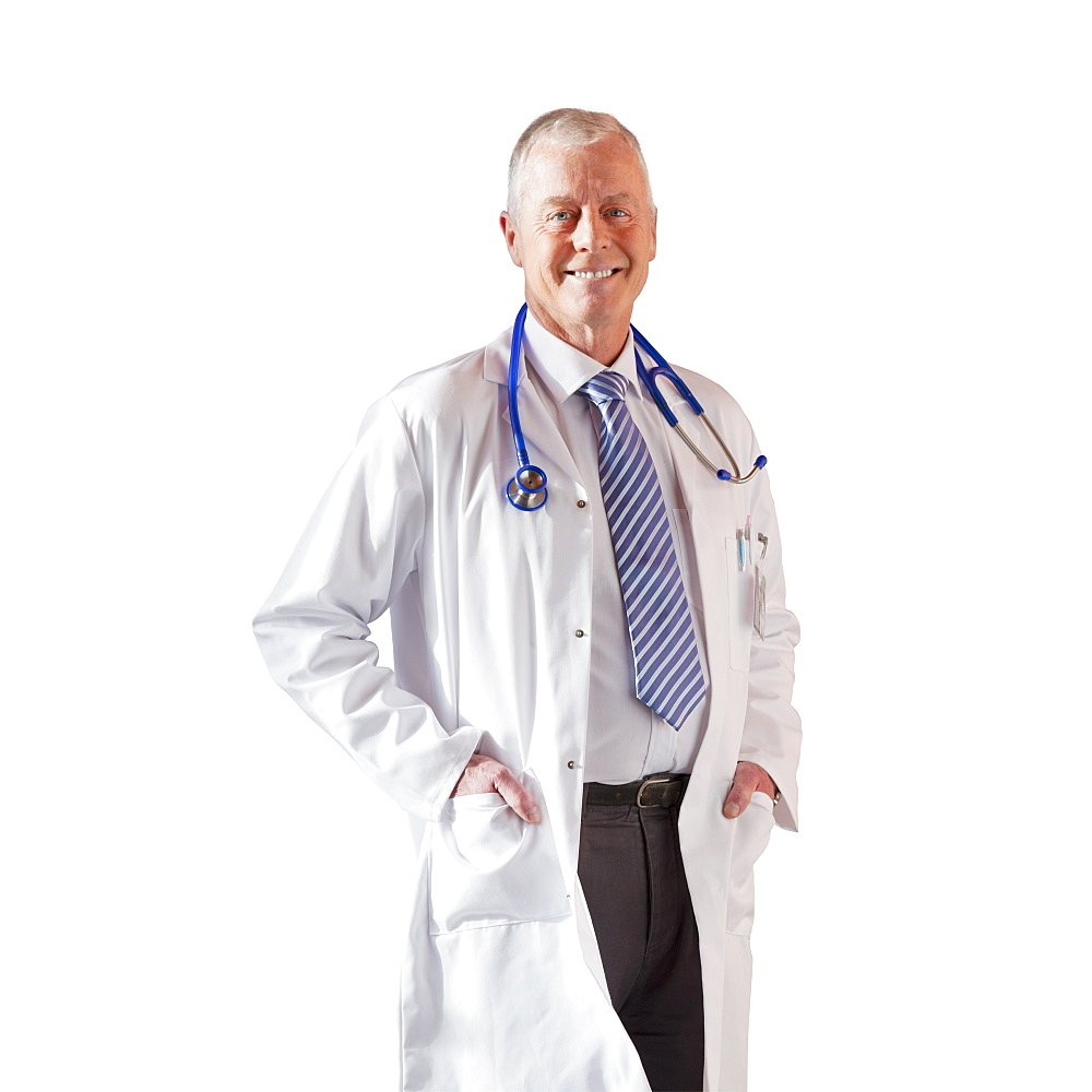 Cut Out Of Senior Male Doctor Wearing White Coat