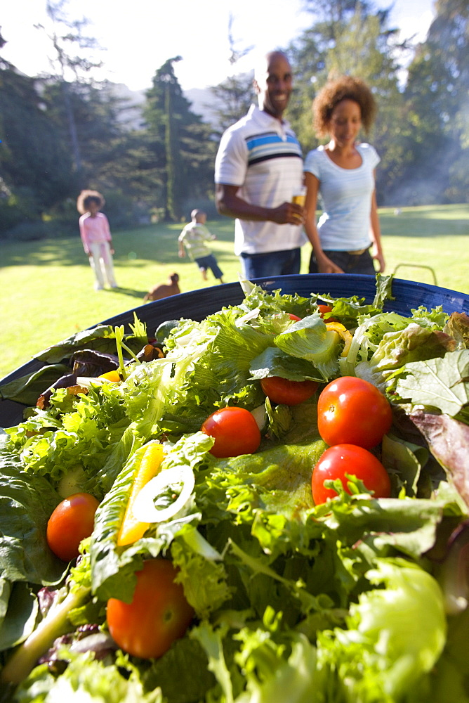 Family having barbeque outdoors, plate of salad in foreground