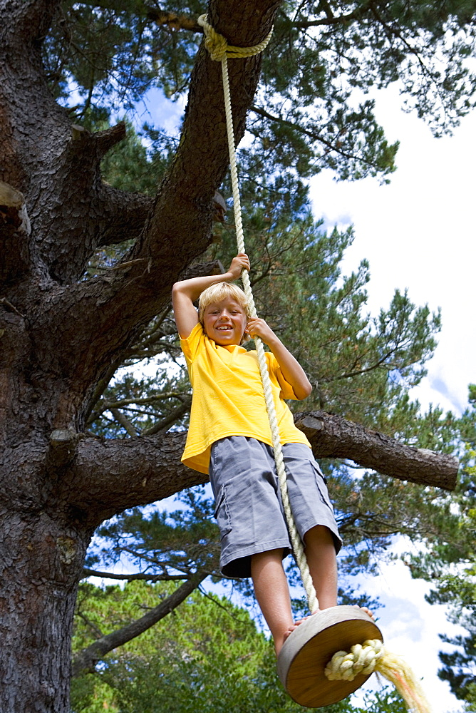 Boy (9-11) on swing, smiling, portrait, low angle view