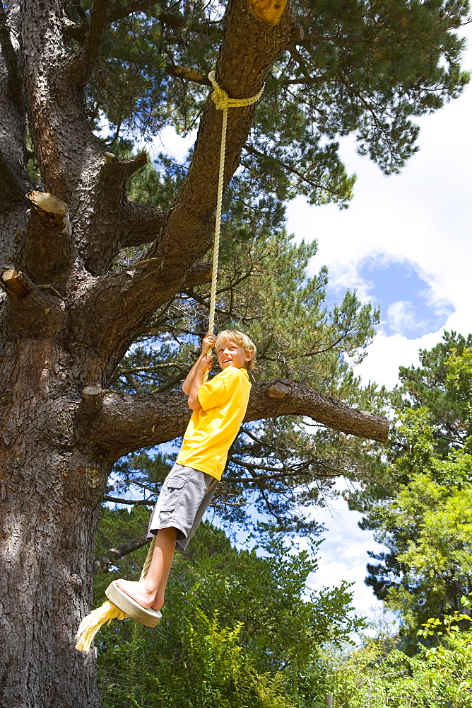 Boy (9-11) standing on swing, low angle view