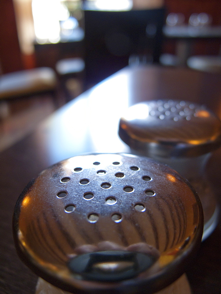 Close up of restaurant salt and pepper shaker