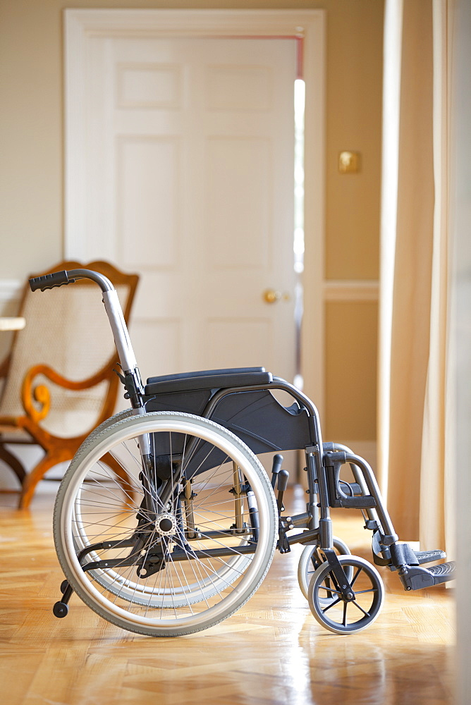Wheelchair in corridor