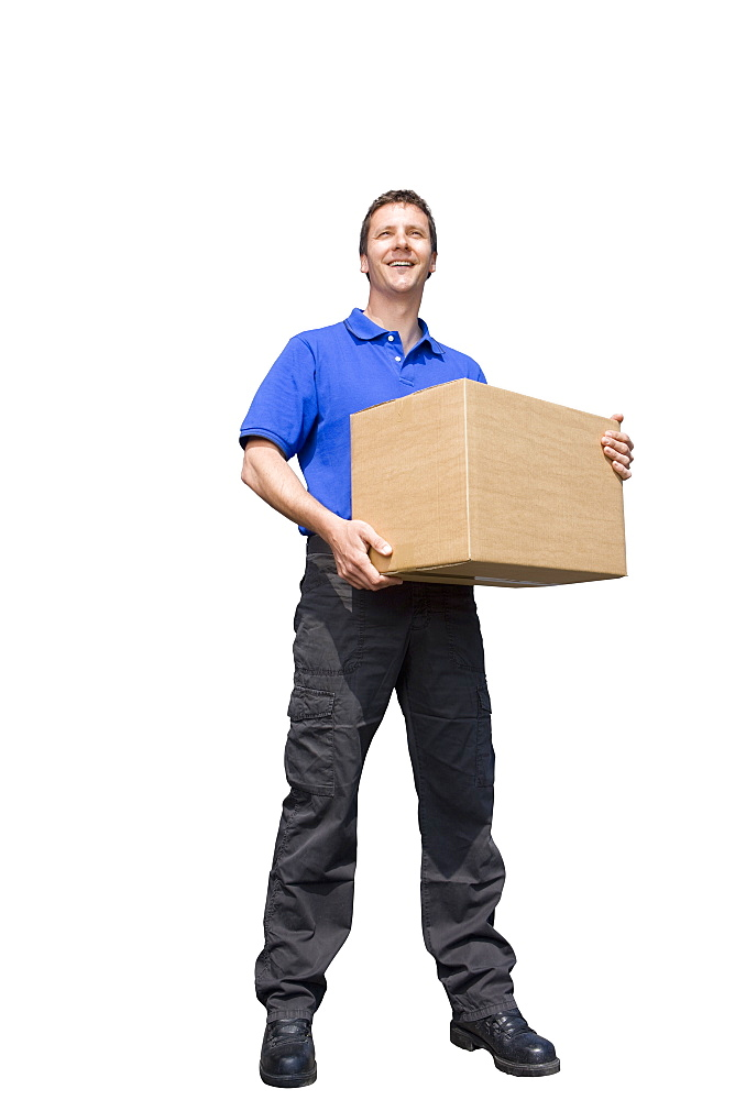 Cut Out Of Male Courier Delivering Package