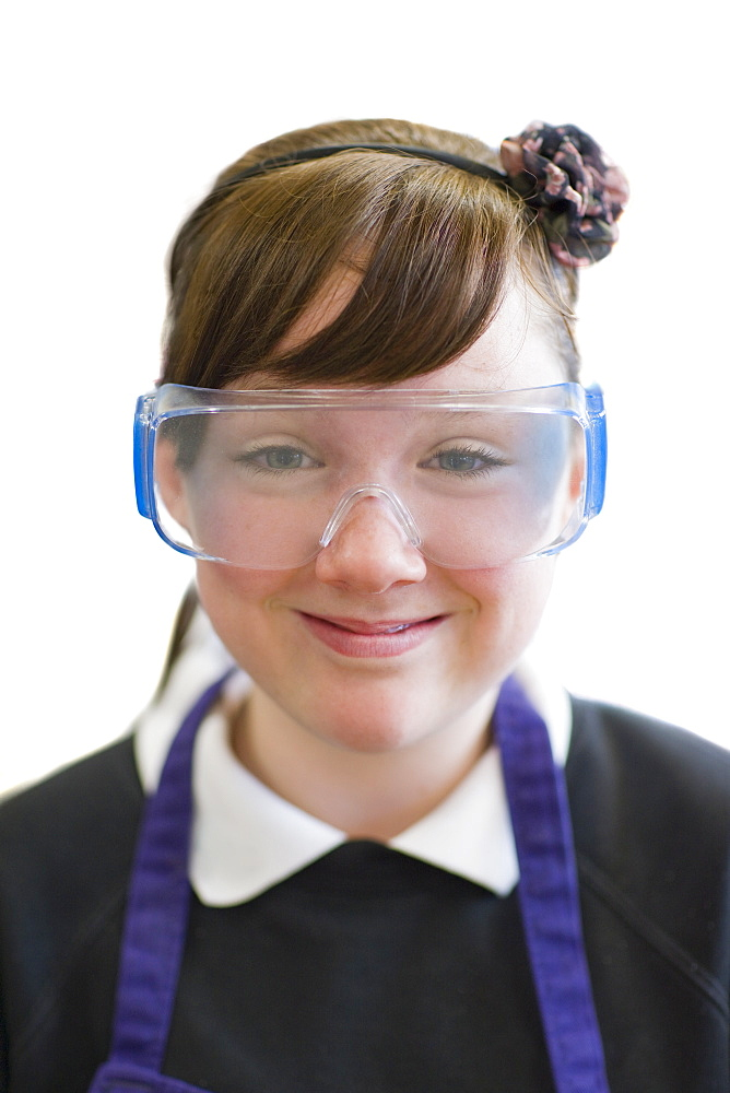 Cut Out Of Female School Pupil Wearing Protective Goggles