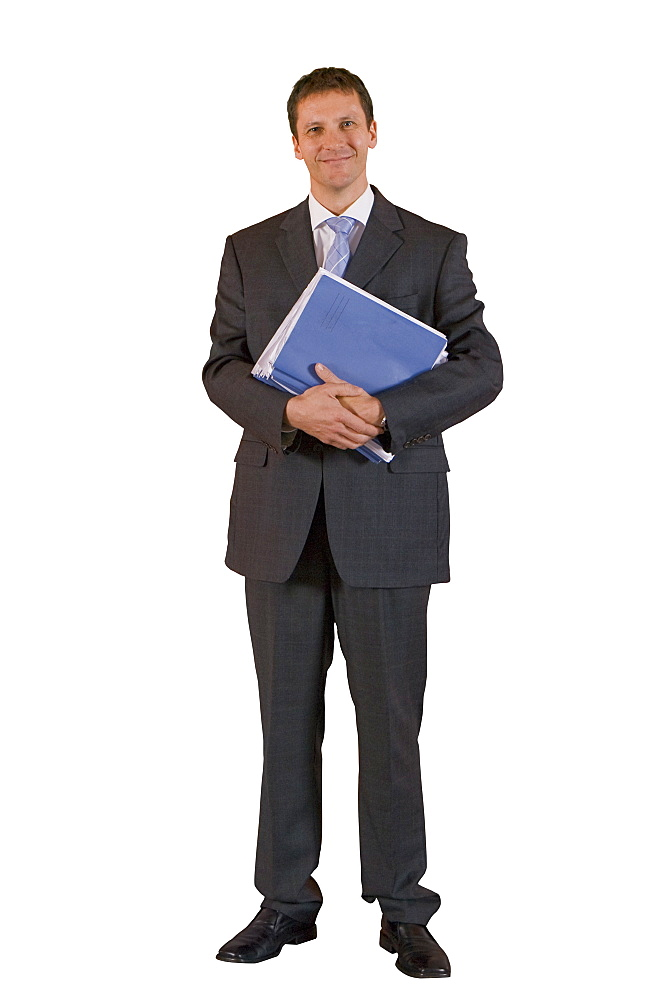 Cut Out Of Middle Aged Male Executive Holding Documents