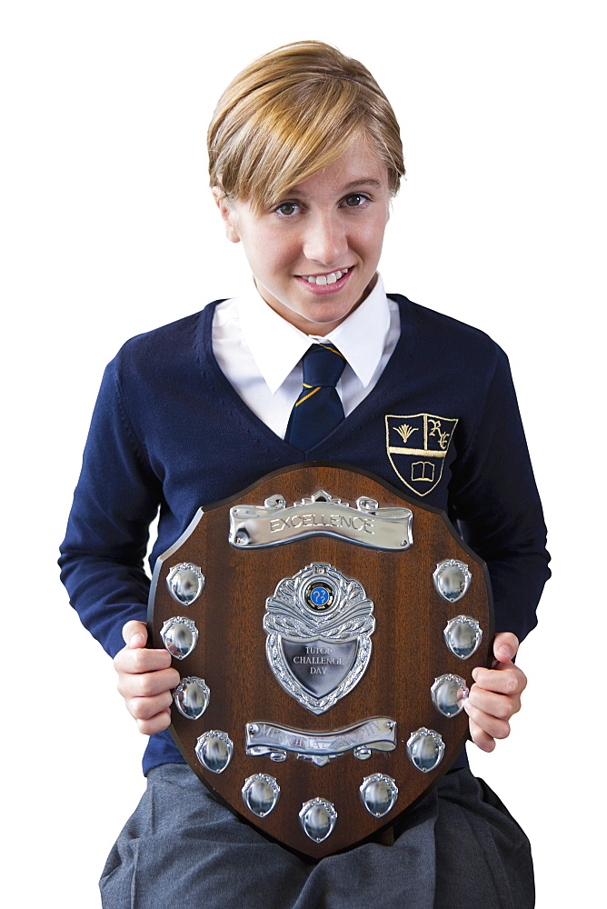 Cut Out Of Female School Pupil Holding Trophy