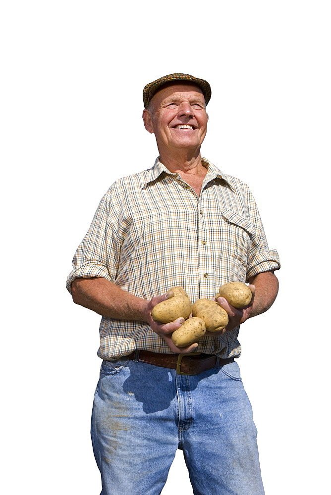 Cut Out Of Farmer Holding Potato Crop