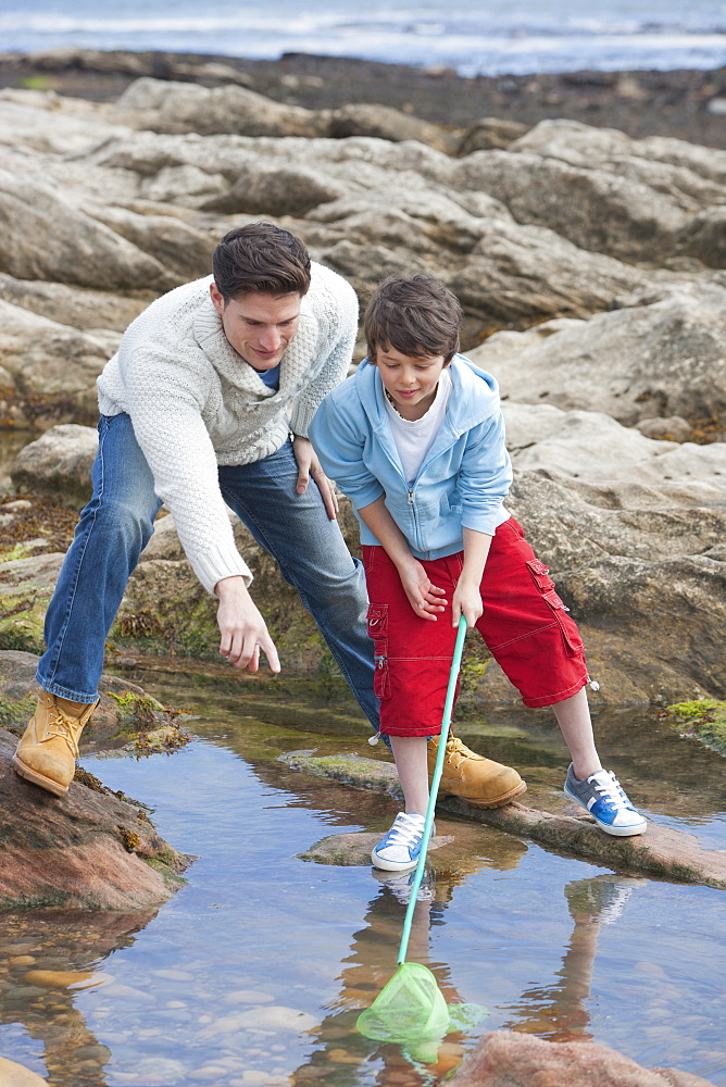 Father And Son Exploring Rockpools Together - 786-8499