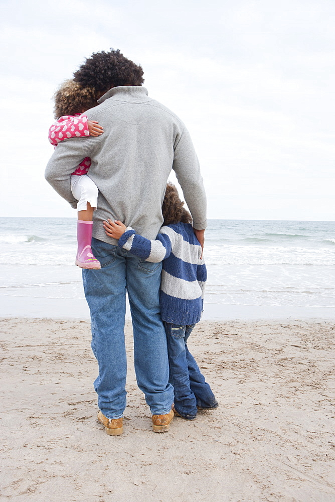 Rear View Of Father Hugging Children On Winter Beach