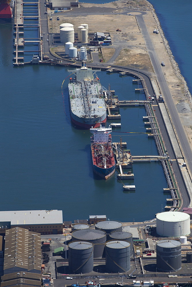 Aerial view of oil tanker moored at commercial dock