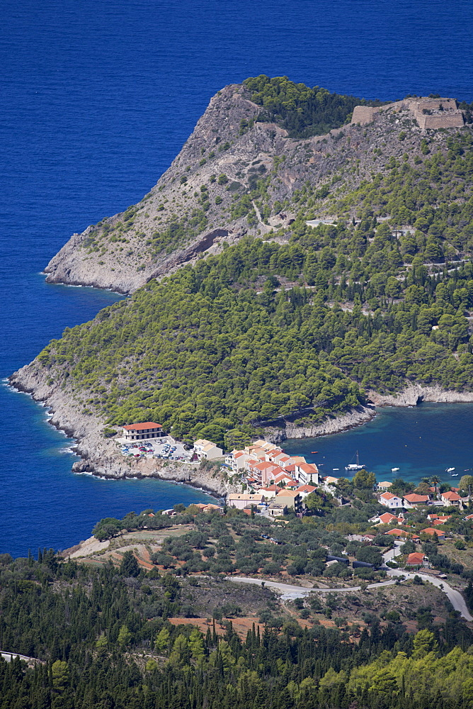 Greece, Kefalonia, Assos, view of Island coastline