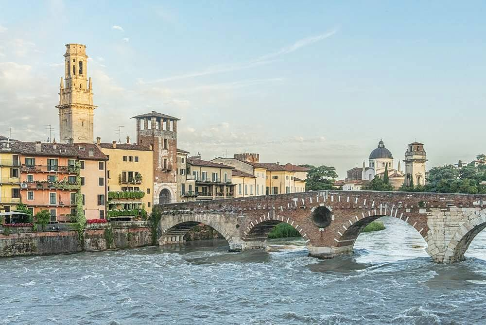 View of the Ponte Pietra over the Adige River in Verona, Italy. - 1174-10002