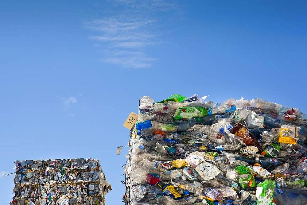 Commercial waste management, bales of recycling materials, plastics stacked up. - 1174-10012