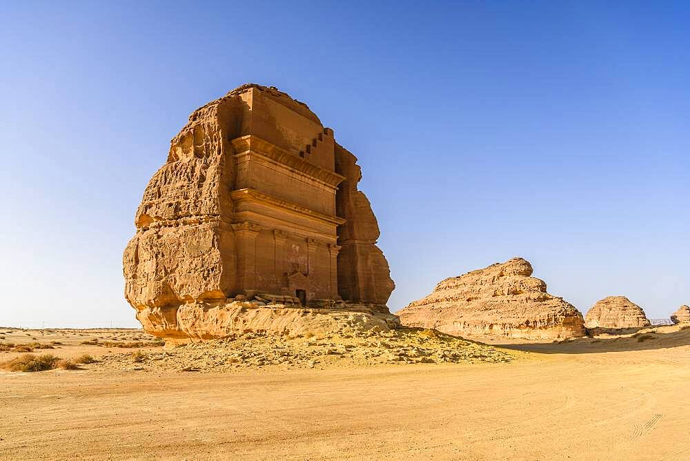 Hegra, also known as Madaメin Salih, or Al-?ijr, archaeological site, Nabatean carved rock cave tombs - 1174-10024