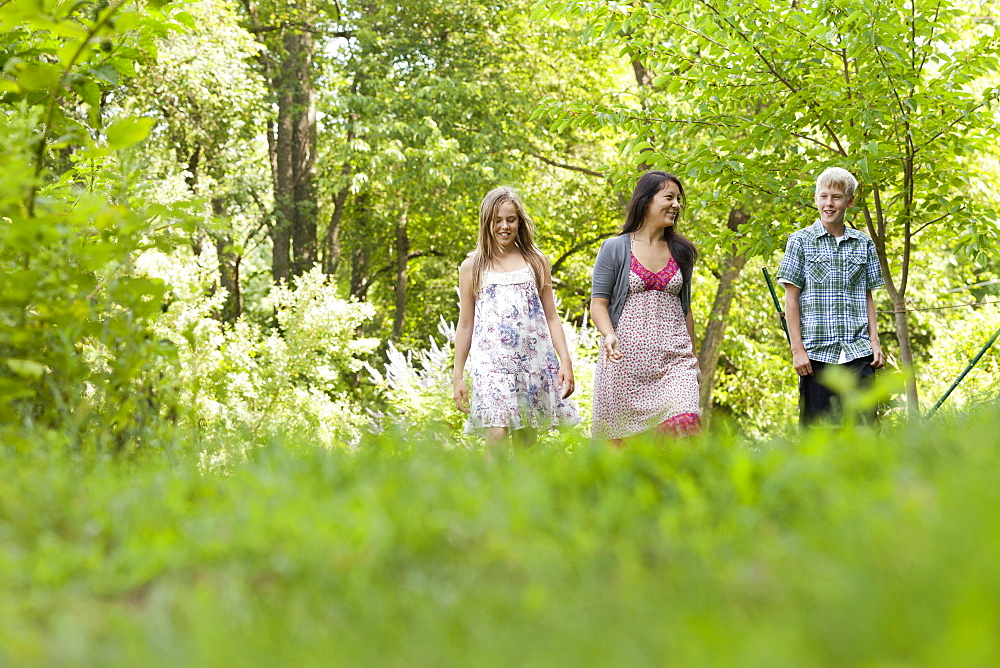 Three people, woman and children walking through woodland, Woodstock, New York, USA
