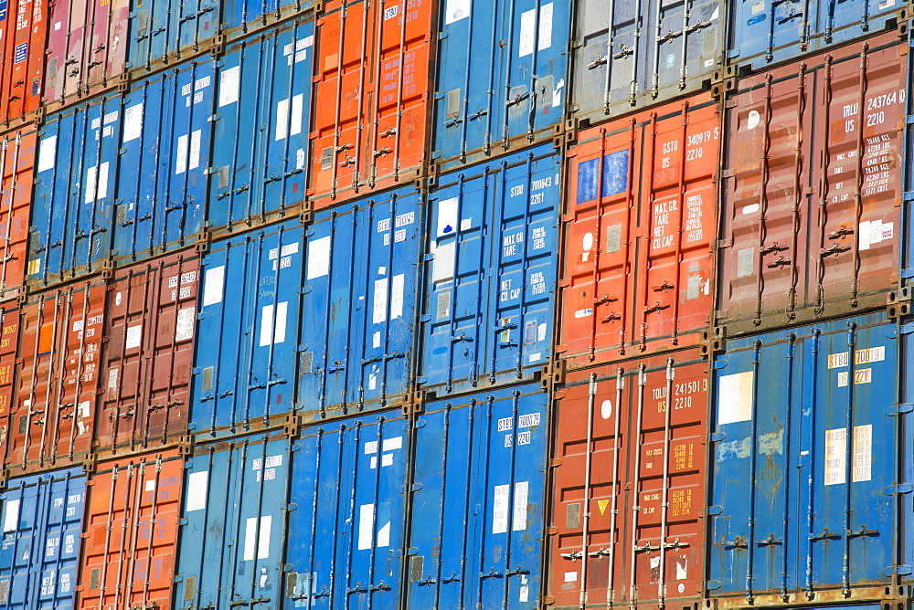 A stack of cargo containers, commercial freight containers, packed together and waiting to be moved, Seattle, Washington, USA