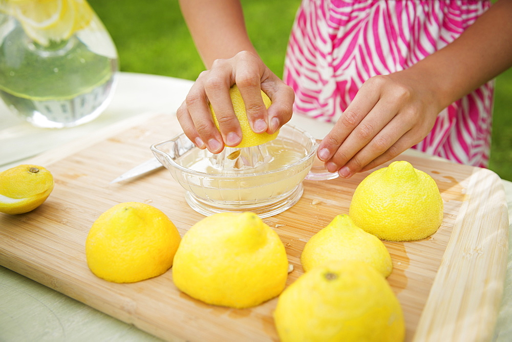 A summer family gathering at a farm. A girl slicing and juicing lemons to make lemonade.
