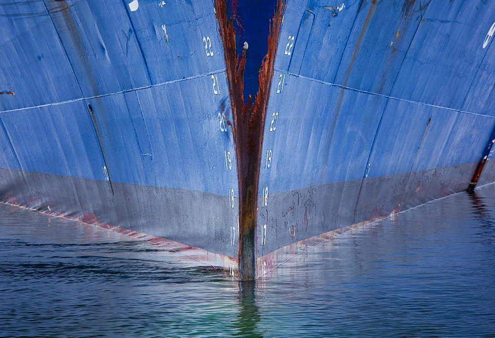 Ship hull in the water, Antarctica. The prow, Antarctica
