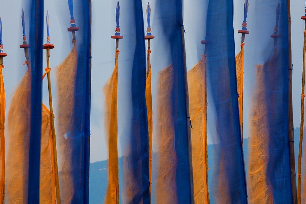 Prayer flags, Paro Valley, Bhutan, Paro Valley, Bhutan
