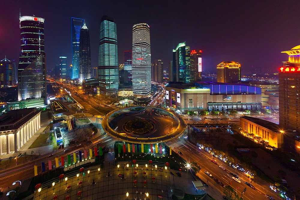 The Lujiazui Traffic Circle, with an elevated pedestrian promenade, at night, Shanghai, China, Shanghai, China