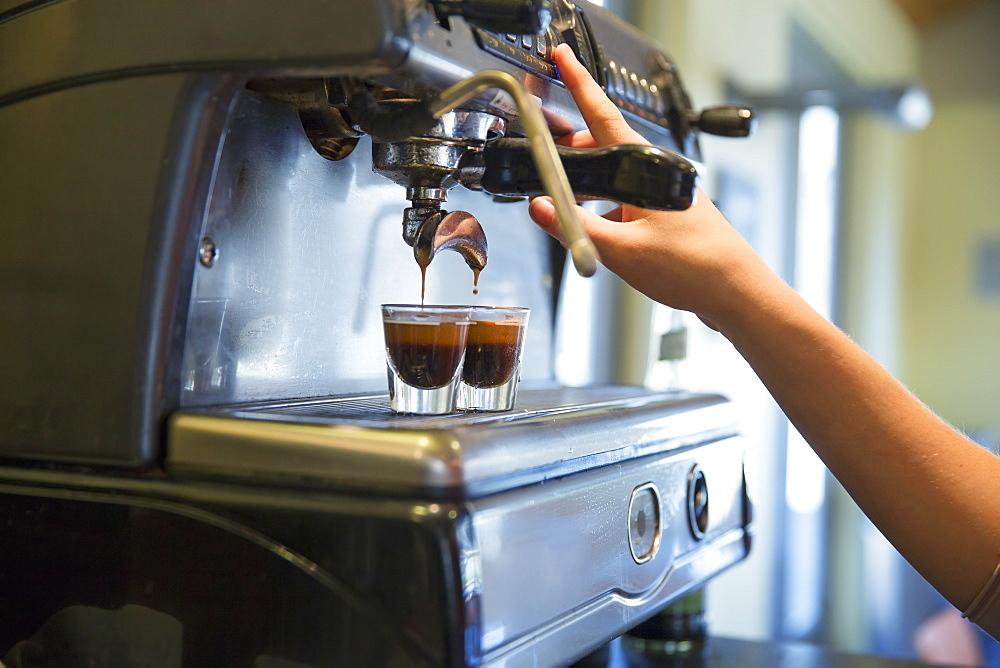 A young woman making coffee using a large coffee machine, Stone Ridge, New York, USA