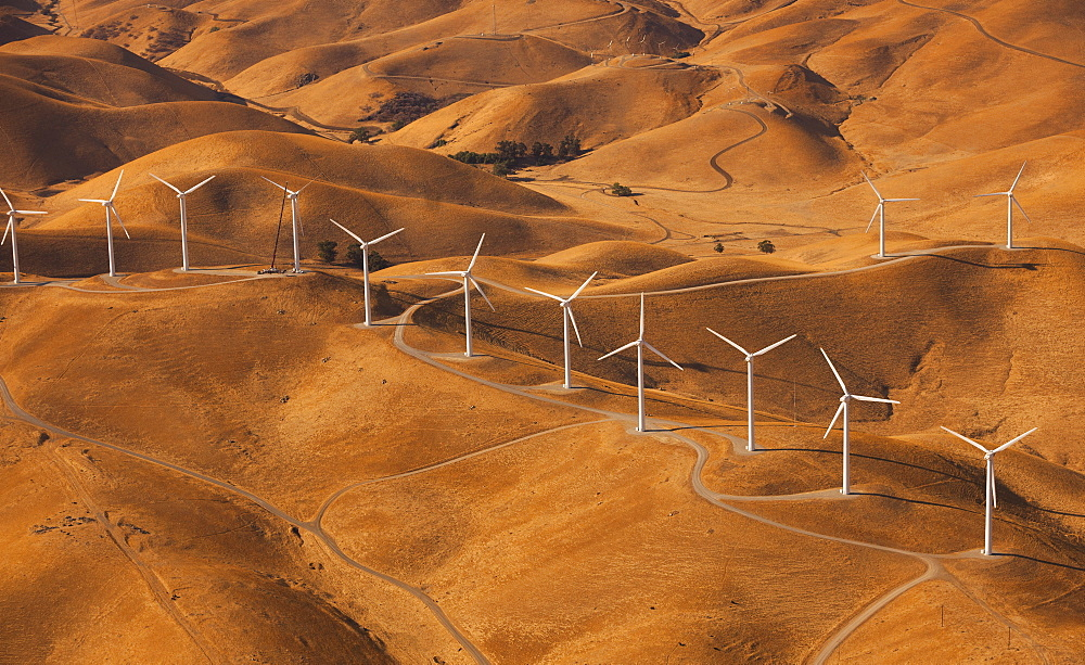 Wind generators in the landscape of the Altamira Pass, California, Altamira Pass, California, USA