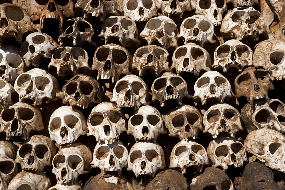 Skulls arranged in a head in Togo, Togo, Africa