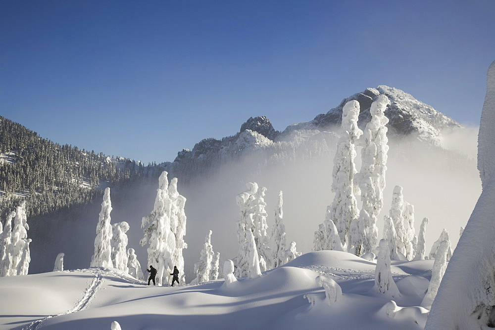 Two hikers enjoy a blue bird day in the middle of winter in the snow covered Cascade Mountains, Cascade Mountains, Washington, USA