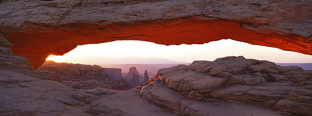 The Mesa Arch, a natural eroded rock arch, in Canyonlands National Park, Mesa Arch, Canyonlands National Park, Utah, USA