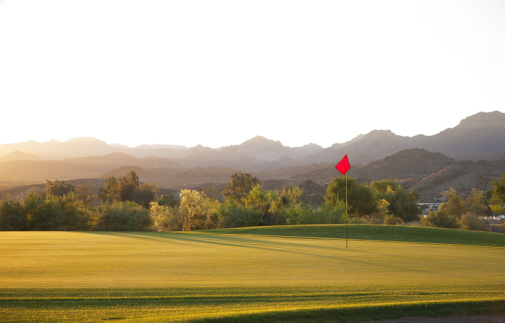 A golf course in Arizona, and a view to mountains, Desert golf, Arizona, USA