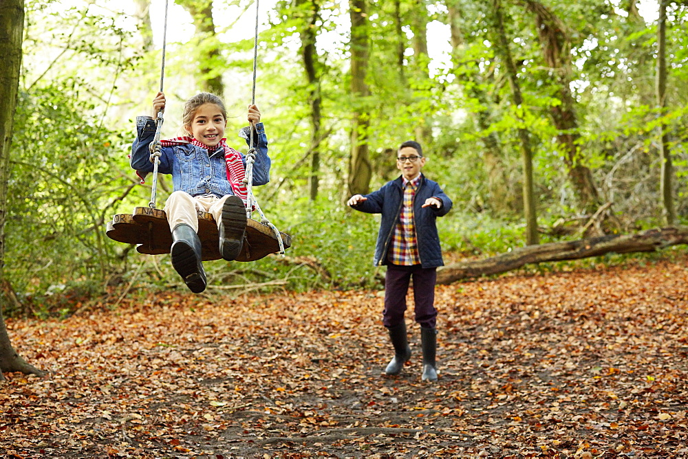 Beech woods in Autumn. A girl sitting on a swing being pushed by her brother, England, United Kingdom