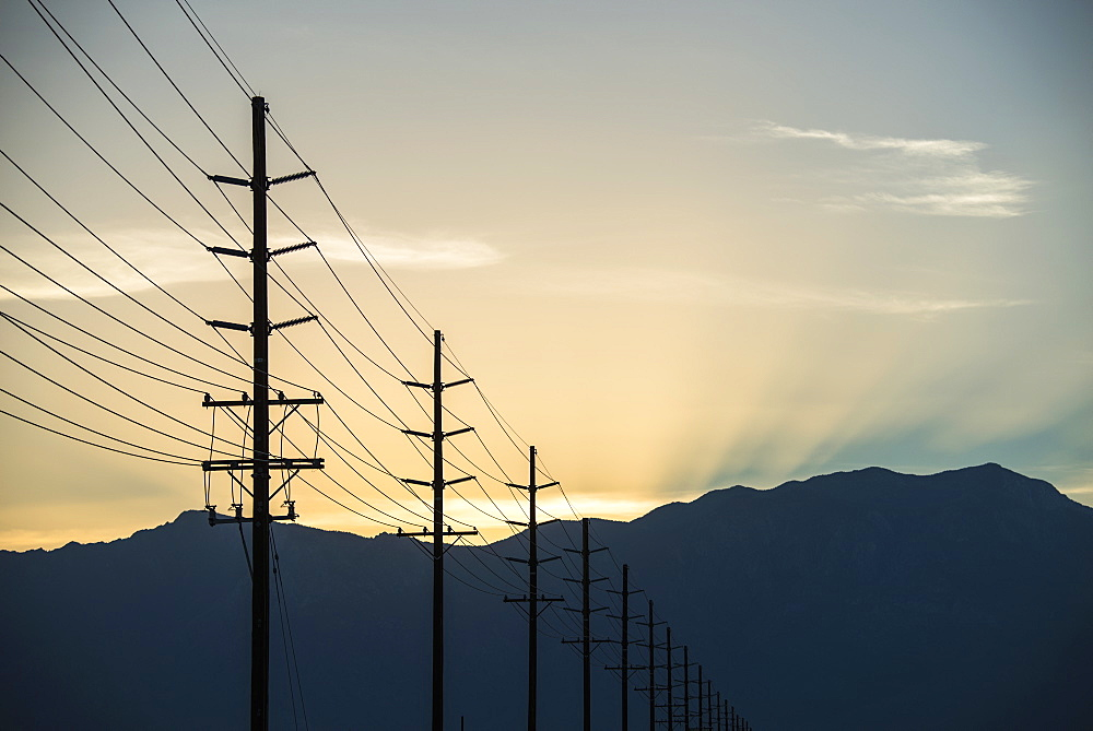 A row of poles and communication or power lines at sunset, United States of America