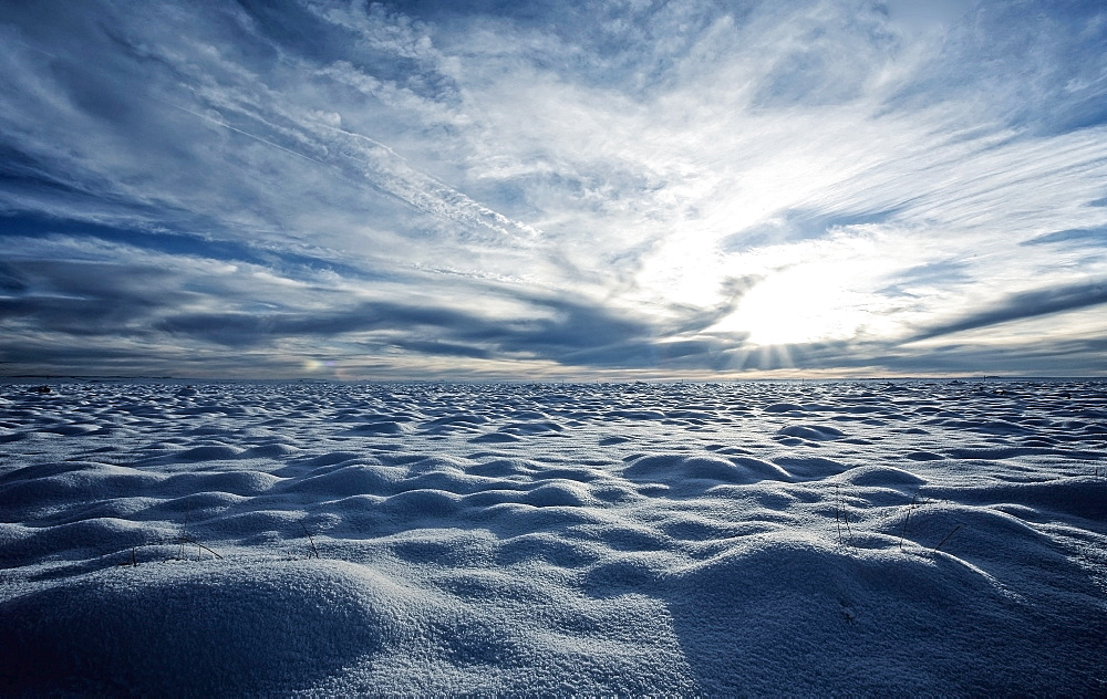 A snow covered field and a view to the horizon, Snow, USA