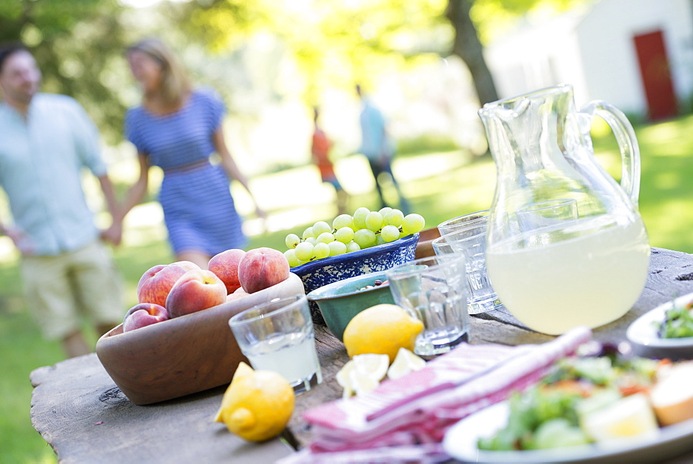 A summer buffet of fruits and vegetables, laid out on a table. People in the background, Woodstock, New York, USA