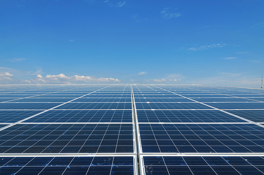 Solar panels in a grid on a flat plain, reaching to the visible horizon under a clear blue sky.