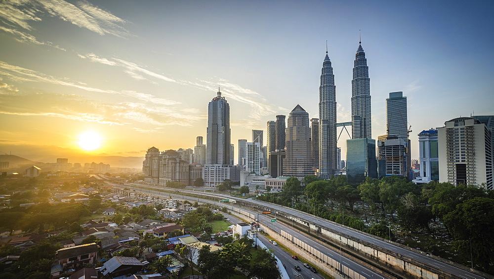 High rise buildings in downtown Kuala Lumpur.