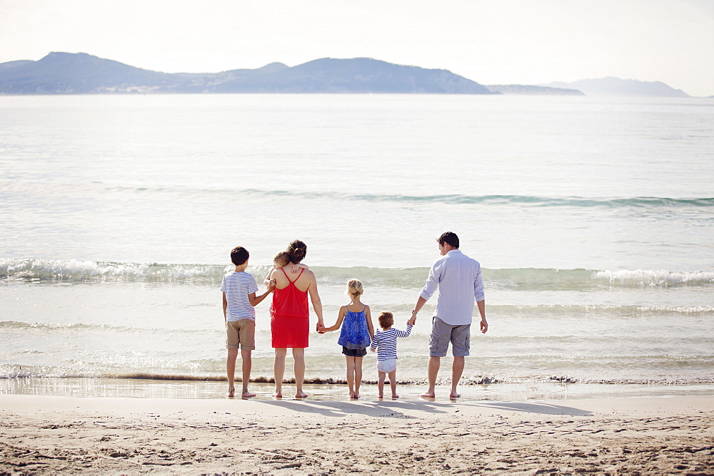 Rear view of man, woman and four children standing on a sandy beach by the ocean, holding hands.