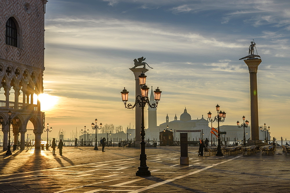 View across St Mark's Square, Venice, Italy, at sunrise, Venice, Italy
