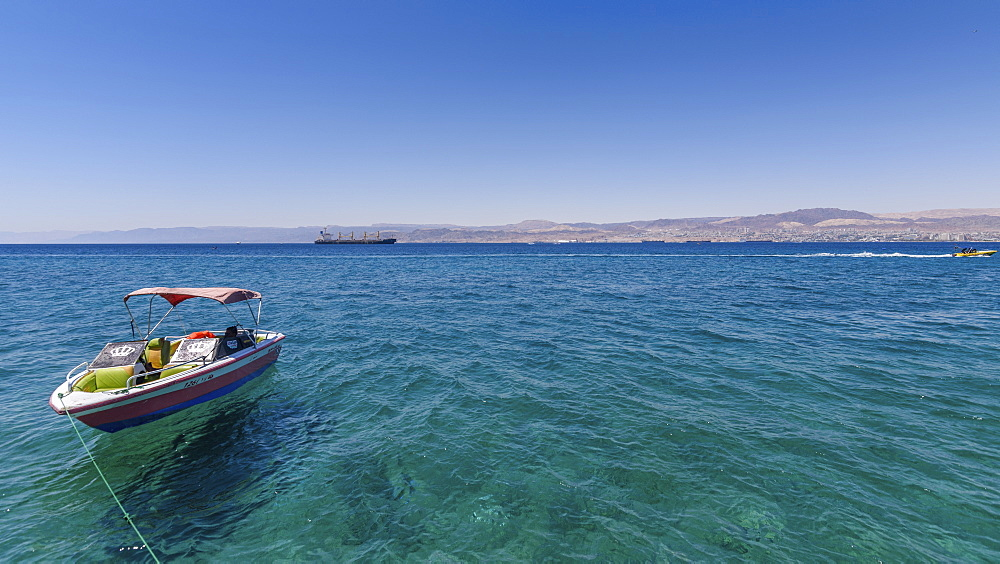 Boat moored in the Red Sea, Jordan, with coastline in the distance, Coastline, Red Sea, Jordan - 1174-4489