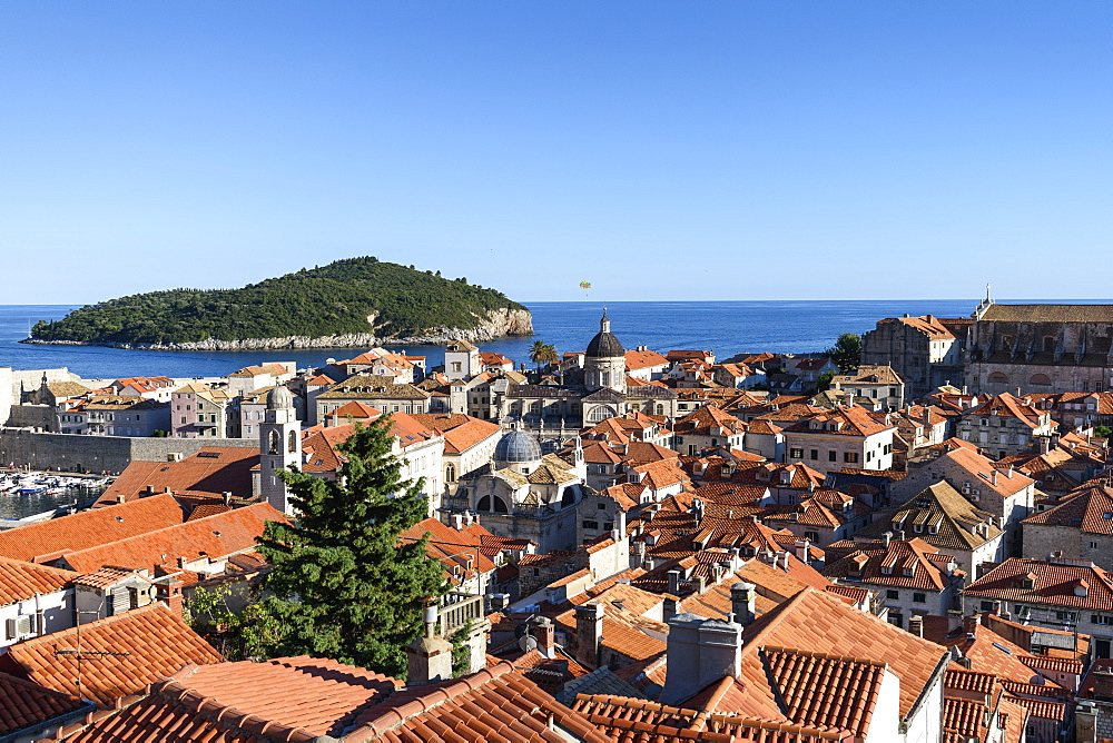 View across the rooftops of the historic old town of Dubrovnik, and a view to the Adriatic Sea, Dubrovnik, Croatia