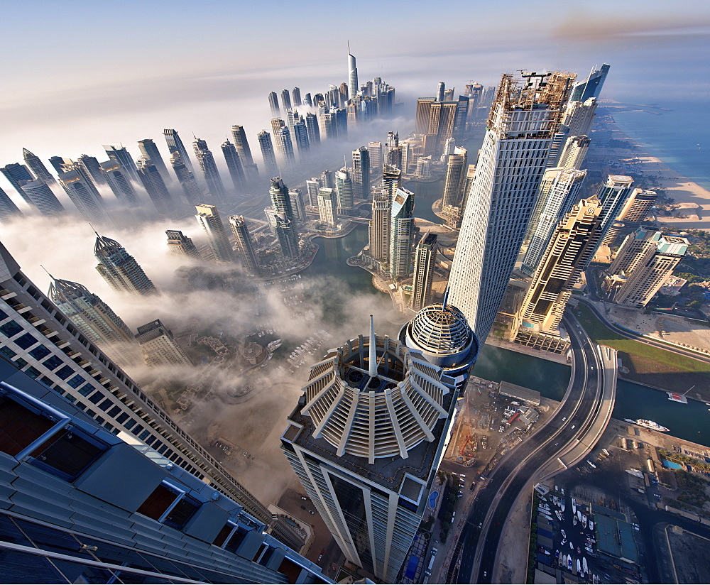 Aerial view of cityscape with skyscrapers above the clouds in Dubai, United Arab Emirates, Dubai, United Arab Emirates - 1174-4501
